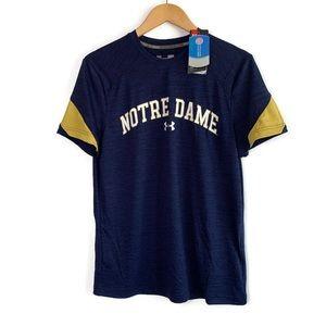 Under Umour Notre Dame NWT Navy Blue & Gold Shirt